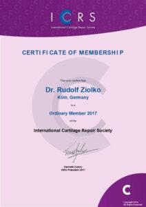 Zertifikat über die Mitgliedschaft der ICRS für Orthopäde Dr. Ziolko in Köln
